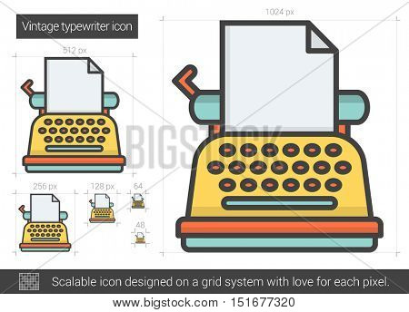 Vintage typewriter vector line icon isolated on white background. Vintage typewriter line icon for infographic, website or app. Scalable icon designed on a grid system.
