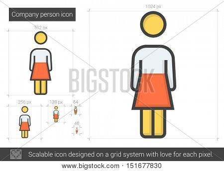 Company person vector line icon isolated on white background. Company person line icon for infographic, website or app. Scalable icon designed on a grid system.