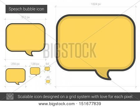 Speach bubble vector line icon isolated on white background. Speach bubble line icon for infographic, website or app. Scalable icon designed on a grid system.