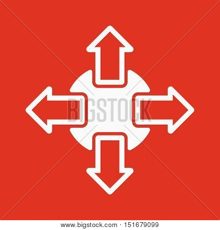 The navigation icon. Arrows symbol. Flat Vector illustration