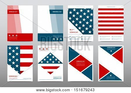 Set of Veterans Day brochure, poster templates in USA flag style. Beautiful design and layout. Leaflet cover presentation abstract background
