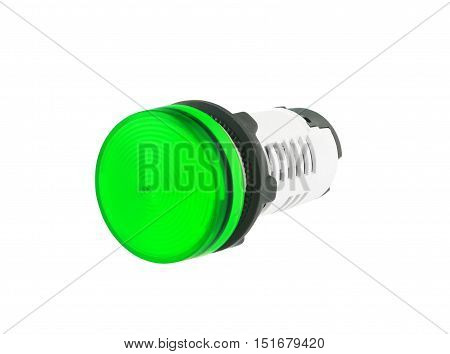 Green Electrical Indicating Lamp isolated on white background