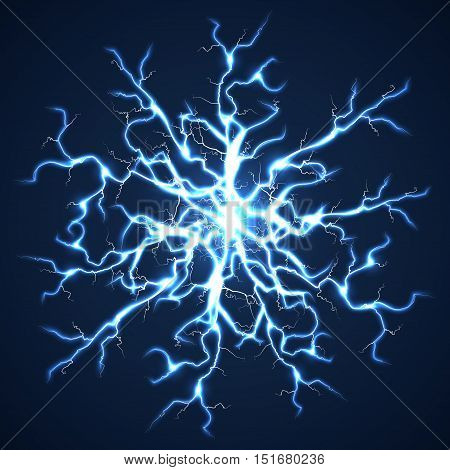 Thunder bolts dark vector background. Storm with flash power lightning illustration