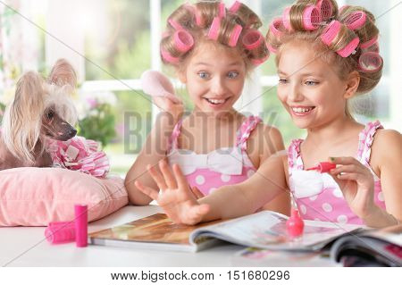 Cute  tweenie girls  in hair curlers  with  magazine and dog  at home