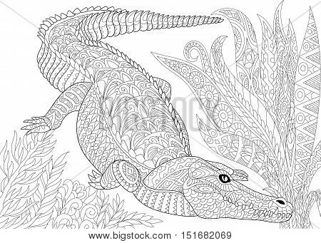 Stylized cartoon crocodile (alligator) jungle foliage. Freehand sketch for adult anti stress coloring book page with doodle and zentangle elements.