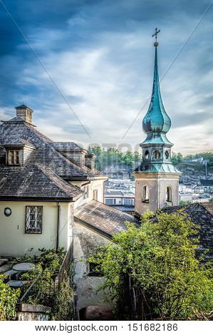 Salzburg Austria - April 29 2015: Cityscape from the hill of Kapuzinerberg at dusk. Salzburg was the birthplace of Mozart. It is an Unesco World Heritage Site.