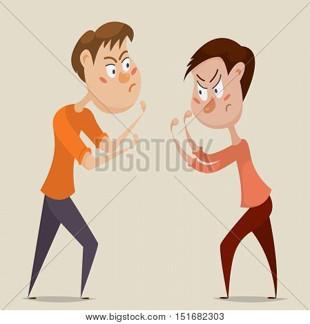 Two angry men quarrel and fight. Emotional concept of aggression and conflict. Cartoon characters. Vector illustration