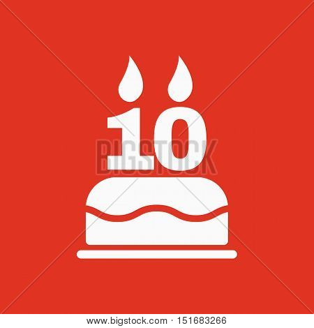 The birthday cake with candles in the form of number 10 icon. Birthday symbol. Flat Vector illustration