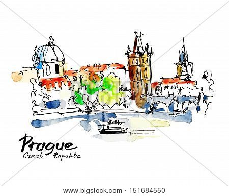 watercolor freehand sketch drawing of Prague Czech Republic top landscape to travel book or poster, aquarelle painting vector illustration