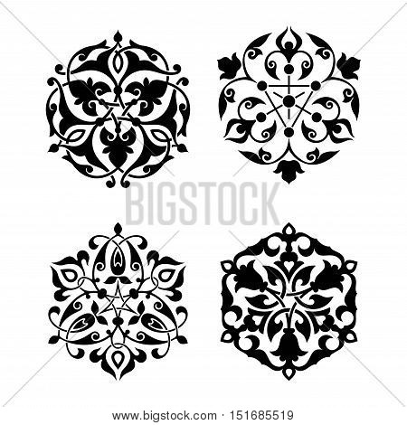 Set of arabic oriental ornament floral pattern motif arabesque islamic ornament