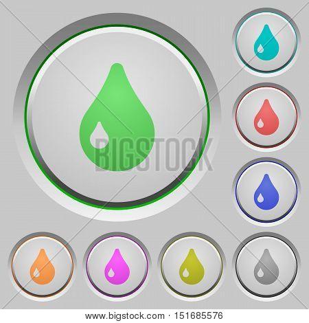 Set of color drop sunk push buttons.