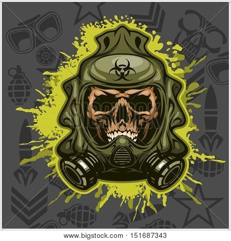 Biohazard - skull mask, virus infection. Isolated on white