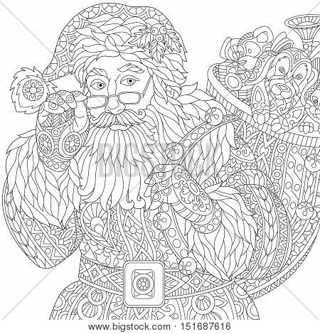 Stylized christmas Santa Claus with bag full of gift toys isolated on white background. Freehand sketch for adult anti stress coloring book page with doodle and zentangle elements.