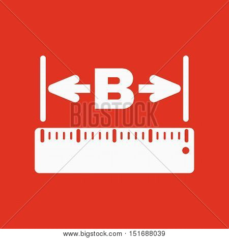 The width icon. Measurement and ruler symbol. Flat Vector illustration