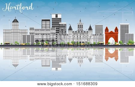 Hartford Skyline with Gray Buildings, Blue Sky and Reflections. Vector Illustration. Business Travel and Tourism Concept with Historic Architecture. Image for Presentation Banner Placard and Web Site.