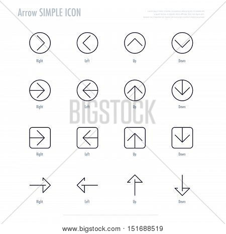 Arrow linear icon set. right left up and down simple arrow icon. vector stock.