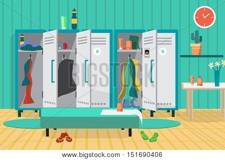 Interior of a gym locker room. Dressing place a fitness club. Vector flat cartoon illustration