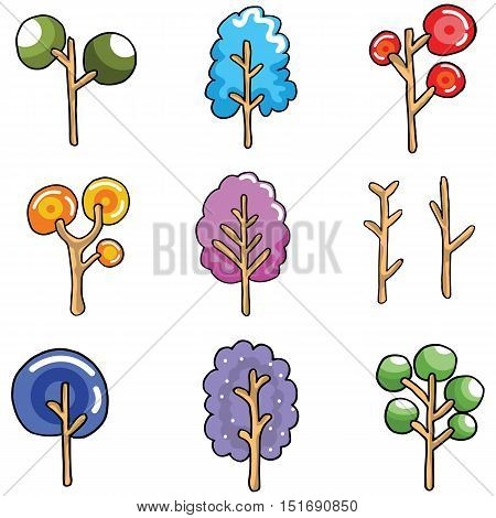 Unique tree collection of doodles vector art