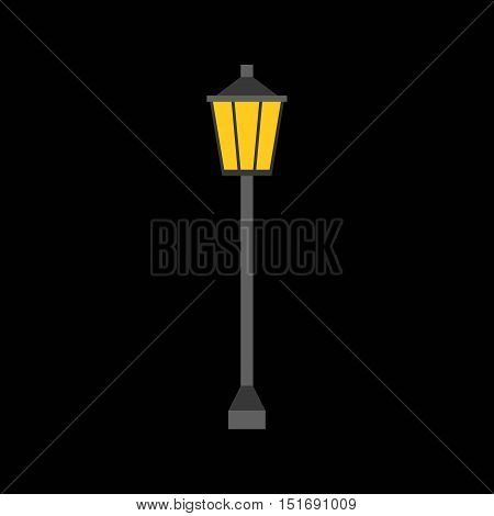 Vertor Lamp post icon, flat design on black background