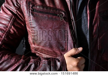 Modern Red Leather Jacket For Men