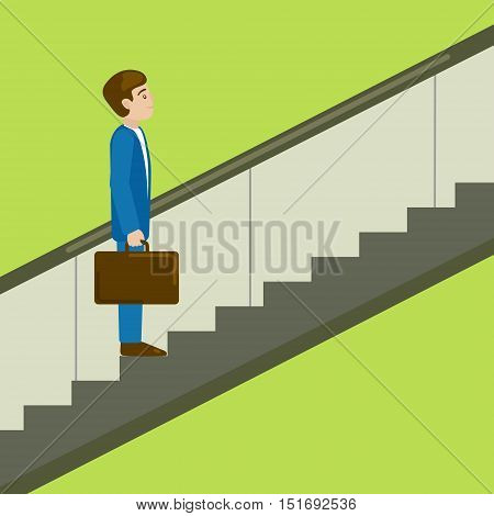 Business man on escalator moves upwards. Moving up the career ladder. Business metaphor. Cartoon colorful hand drawn vector illustration