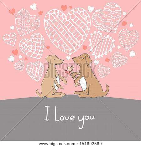 Cute cartoon hand drawn illustration with dogs in love. Vector illustration