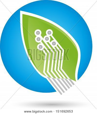 Leaf in green and chip, circuit board, Green IT logo