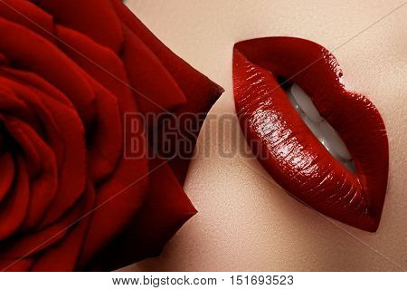 Close-up Beautiful Female Lips With Bright Red Makeup. Perfect C