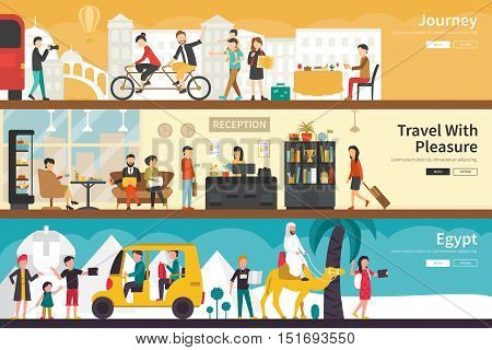 Journey Travel With Pleasure Egypt flat tourism interior outdoor concept web. Career Chart Fun