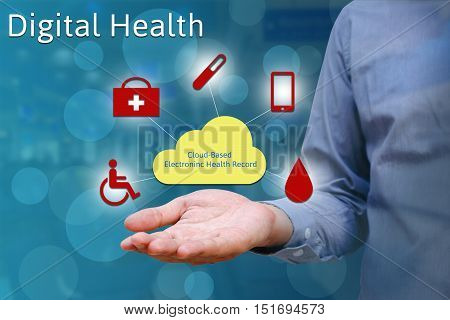 Closeup of hand man show holding cloud in palm Digital health concept.