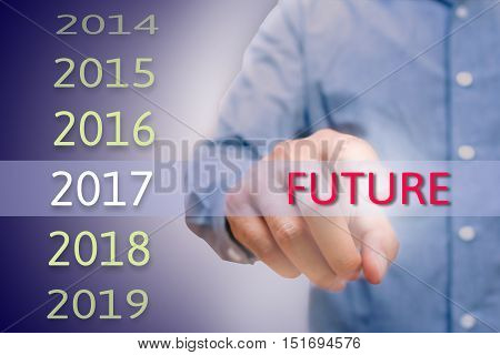 Man hand pointing future text Body man businessman planing work for 2017. Business new year plans and targets concept.