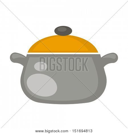 Cooking Soup pot with a lid. Kitchen stainless dishware. Isolated on white background. Vector Illustration.