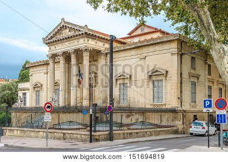 PERPIGNAN,FRANCE - AUGUST 28,2016 - Building of Justice Palace in Pepignan. Perpignan is a city a commune and the capital of the Pyrenees Orientales department in south western France.