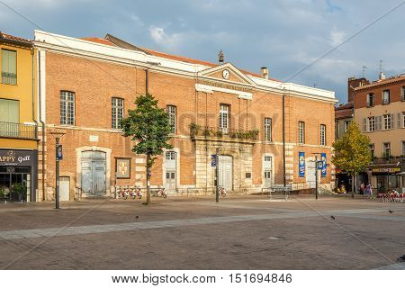 PERPIGNAN,FRANCE - AUGUST 28,2016 - Municipal Theatre in Perpignan. Perpignan is a city a commune and the capital of the Pyrenees Orientales department in south western France.