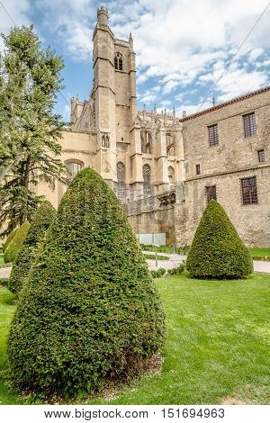 NARBONNE,FRANCE - AUGUST 28,2016 - Cathedral of Saint Just and Saint Pasteur in Narbonne. Narbonne is a commune in southern France in the Languedoc Roussillon region.