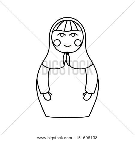 Russian traditional wooden toys, babushka, matryoshka, simple beauty design element. Vector illustration. National culture concept. Retro doll background for adult coloring page book.