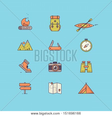 Line icons with flat design elements of survival tourism recreation, outdoor camping, travel and vacation. Vector illustration.