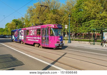 Brussels, Belgium - April 5, 2008: Pink Rapid City Tram With Advertising