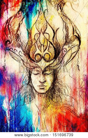 man and ornamental crown, pencil sketch on paper, color and vintage effect