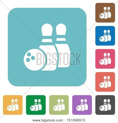 Flat bowling icons on rounded square color backgrounds.