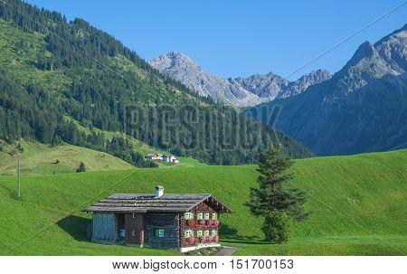 idyllic Mountain Landscape in Kleinwalsertal near Mittelberg,Vorarlberg,Alps,Austria