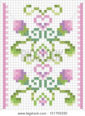Embroidery cross stitch on canvas. Vector seamless ornament. Border from plants with buds leaves and hearts. Pink and green colors of floss. Imitation canvas Aida.