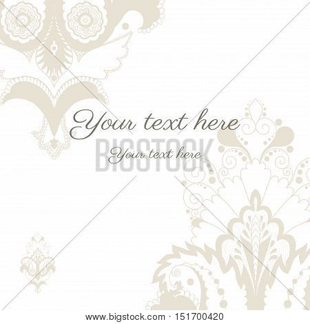 Invitation card with damask pattern. Restrained colors.
