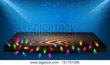 Blue background with wooden shelf and Christmas garland. Vector illustration.