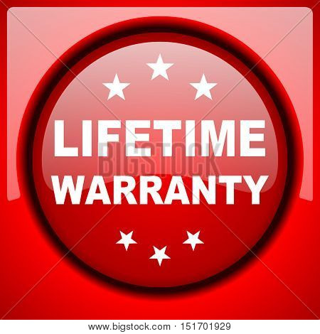 lifetime warranty red icon plastic glossy button