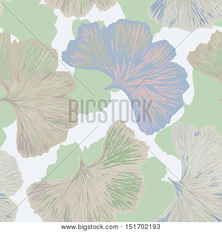 Silhouettes of Ginkgo biloba leafs. Set of silhouettes of ginkgo leaves on white background. Isolated vector illustration. Nature design