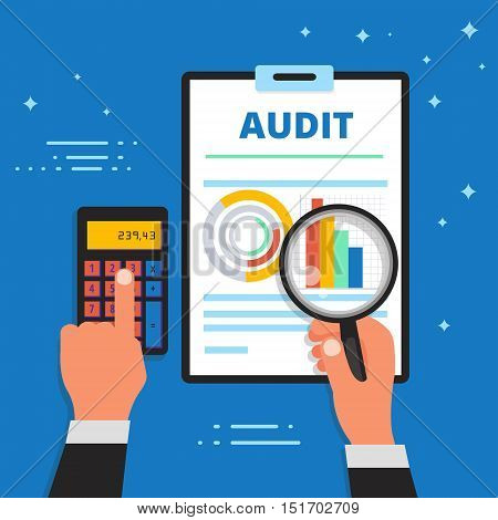 Audit bookkeeping and financial analysis vector illustration. Finance and business analytics accounting or appraisal service web banner.