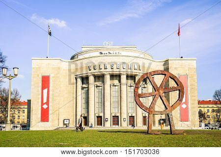 BERLIN GERMANY - 4 MARCH 2016: front view of world famous Volksbuhne theater at Rosa Luxemburg Platz - Designed by Oskar Kaufmann with the aim to offer at accesible prices the social realist plays