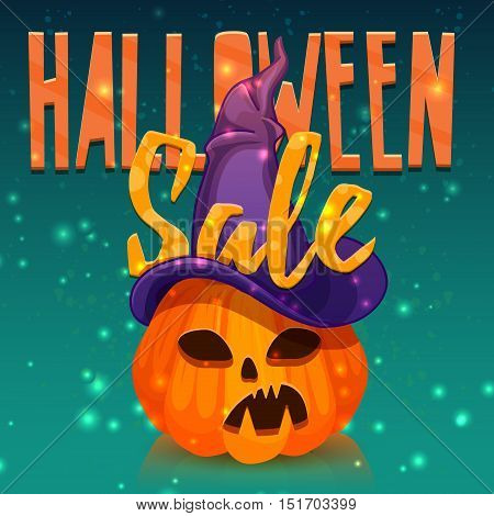 Template design greeting card flyer poster for Happy Halloween discount . Decoration pumpkin and magical witchs hat for Halloween offer. Banner halloween sale. Vector