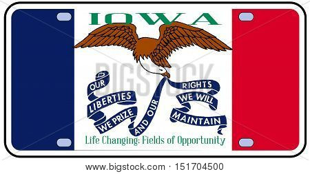 Iowa state license plate flag in the colors of the state flag with the flag icons over a white background